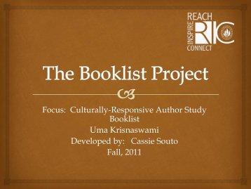 Krishnaswami, Uma Author Study Booklist by Cassie Souto ... - RITELL