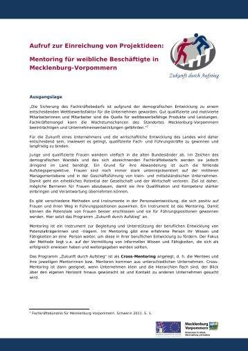 Mentoring für weibliche Beschäftigte in Mecklenburg ... - IMPULS MV