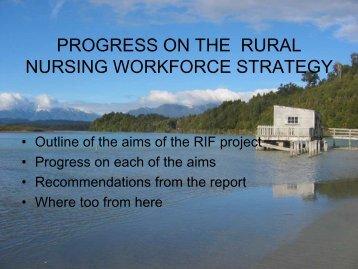 A RURAL NURSING WORKFORCE STRATEGY