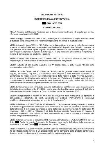 Delibera 70/12/CRL - Corecom