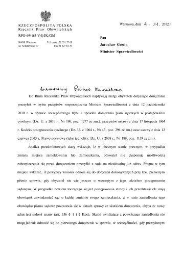 RZECZPOSPOLITA POLSKA Rzecznik Praw Obywatelskich RPO ...