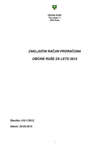 Zaključni račun proračuna Občine Ruše za leto 2012 - Občina Ruše