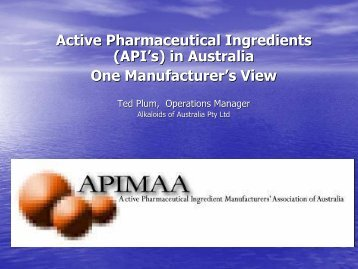Active Pharmaceutical Ingredients - Australian Organisation for Quality