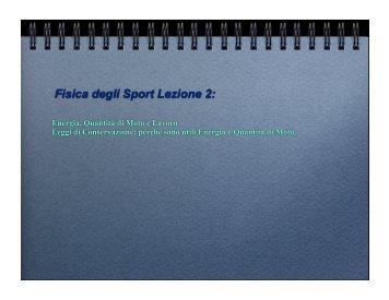 Fisica degli Sport Lezione 2: - Docente.unicas.it