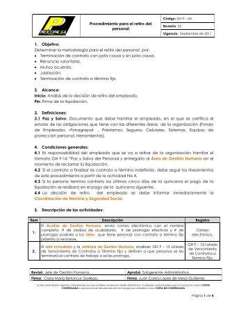 Procedimiento para el retiro del personal 1. Objetivo ... - Procopal