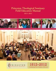 Field Education Manual 2012-13 - Princeton Theological Seminary