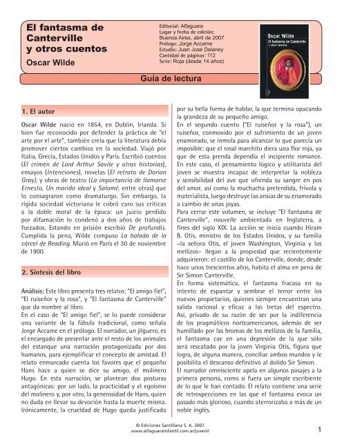 Guía El Fantasma De Canterville Alfaguara