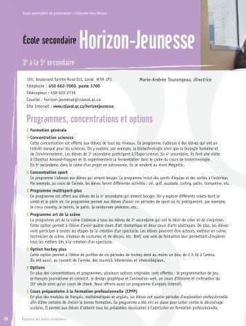 Programmes, concentrations et options École secondaire Horizon ...