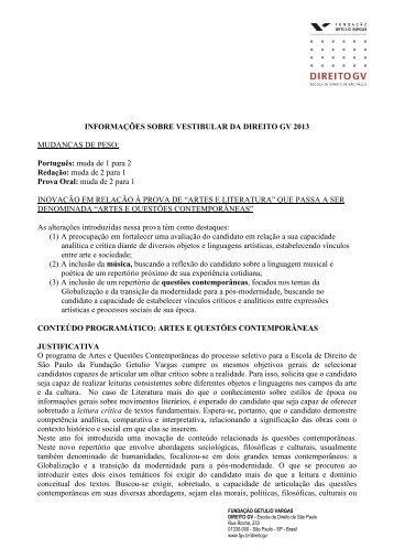 Informações sobre as mudanças vestibular 2013 - Escola de Direito ...