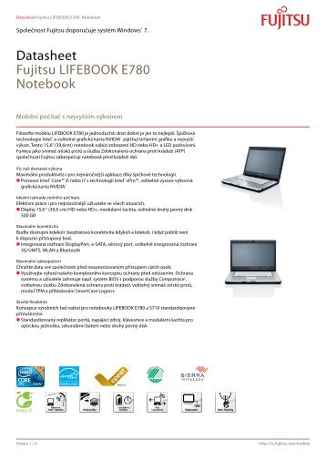 Datasheet Fujitsu LIFEBOOK E780 Notebook