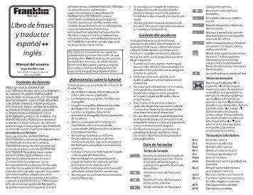 Libro de frases y traductor español inglés - Franklin Electronic ...