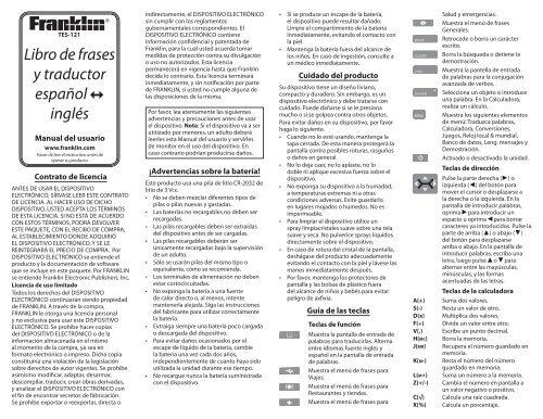 Libro De Frases Y Traductor Español Inglés Franklin