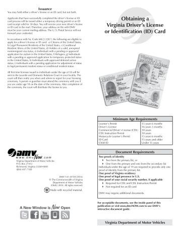 Obtaining a virginia driver 39 s license or state id card for Virginia motor vehicle department