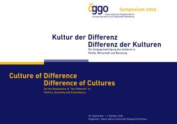 Kultur der Differenz Differenz der Kulturen Culture of Difference ...