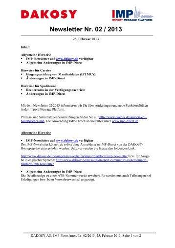 Newsletter Nr. 02 / 2013 - DAKOSY Datenkommunikationssystem AG