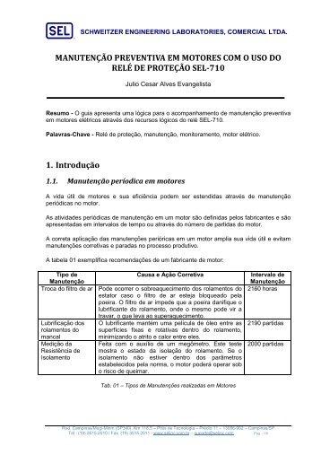 AG - MANUTENÇÃO PREVENTIVA DE MOTORES COM O ... - SEL