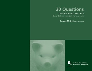 20 Questions Directors Should Ask about their Role in Pension ...