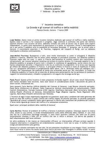 Sabato 7 marzo 2009 - Urban Center - Comune di Genova