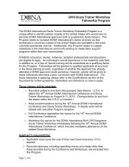 DONA International Doula Trainer Training Fellowship Program