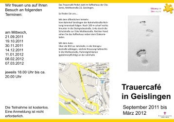 Trauercafé in Geislingen - Evangelische Erwachsenenbildung ...