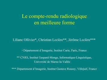 Le compte-rendu radiologique en meilleure forme