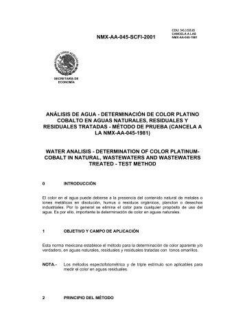 NMX-AA-045-SCFI-2001 ANÁLISIS DE AGUA ... - CONAGUA
