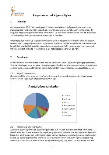 Rapport onderzoek Afgevaardigden 1. Inleiding 2 Resultaten