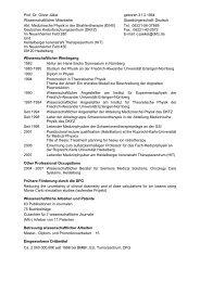 Antrag auf Einrichtung einer klinischen Forschergruppe