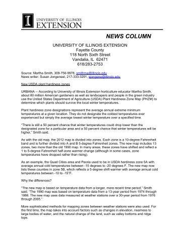 New USDA Plant Hardiness Zone - Fayette County SWCD