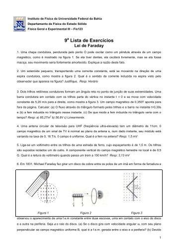9 a Lista - Instituto de Física da UFBA - Universidade Federal da Bahia