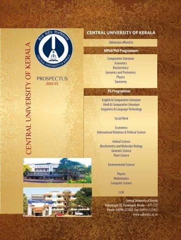 Prospectus -2012.pdf - Central University of Kerala
