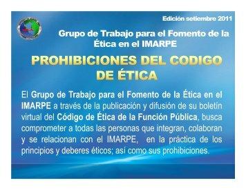 """PROHIBICIONES DEL CODIGO DE ETICA"" Ed. setiembre ... - Imarpe"