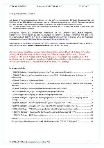 2012 ZODIAK 87-ZL - DAKOSY Datenkommunikationssystem AG