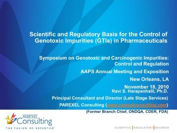 Scientific and Regulatory Basis for the Control of
