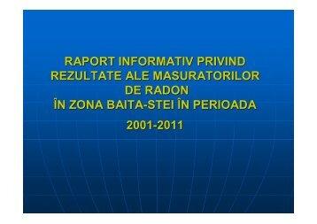 raport informativ privind rezultatele masuratorilor de radon in zona ...