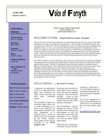 vol. i issue 1 jan-mar 2009 - Forsyth County Historical Association