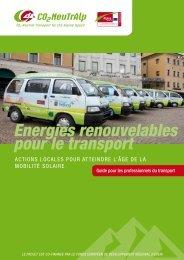 Energies renouvelables pour le transport - CO2-NeutrAlp