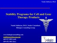 Stability Program for Cell Therapy Products