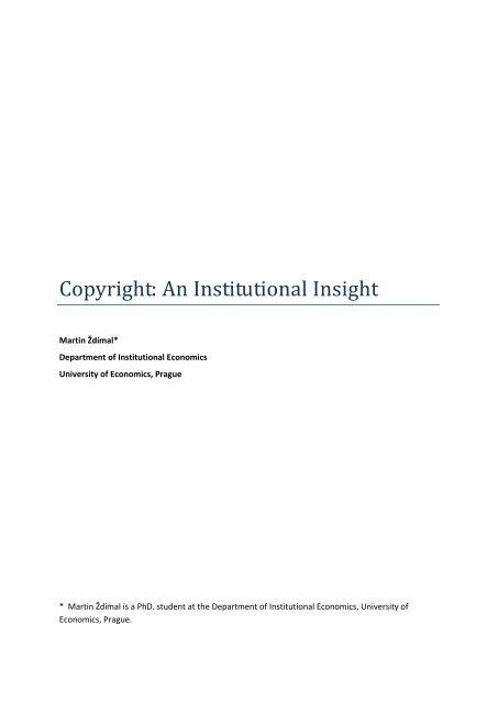 Copyright: An Institutional Insight - Vysoká škola ekonomická v Praze