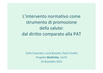 L'intervento normativo come strumento di ... - Trentino Salute