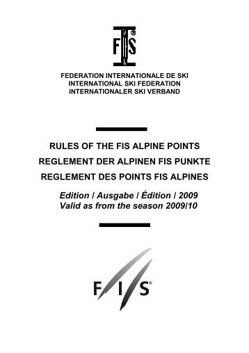 Règlement des points FIS - Edition 2009 - International Ski Federation