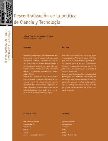 Descentralización de la política de Ciencia y Tecnología - Madri+d