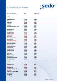 Vers la liste des ventes Sedo – semaine 31 - Blogodomaines.com