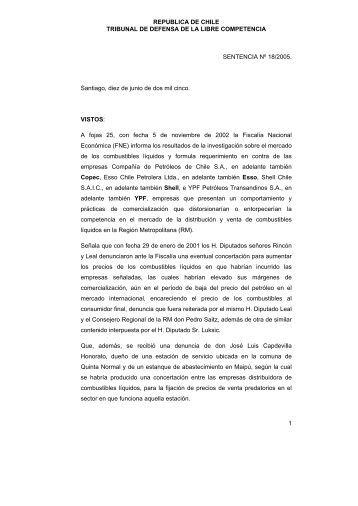REPUBLICA DE CHILE TRIBUNAL DE DEFENSA DE LA ... - U-Cursos