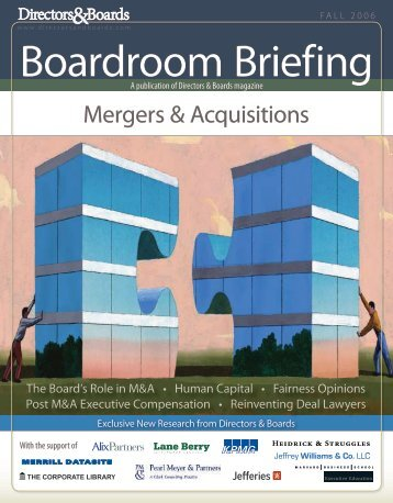 Boardroom Briefing: Mergers & Acquisitions - Directors & Boards