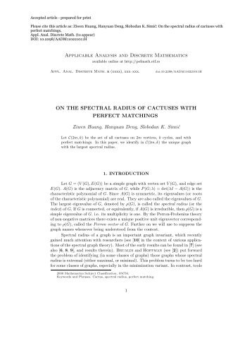 Applicable Analysis and Discrete Mathematics ON THE SPECTRAL ...
