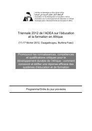 Triennale 2012 de l'ADEA sur l'éducation et la formation en Afrique
