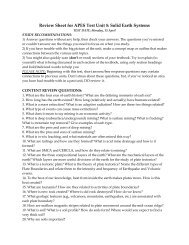 Review Sheet for APES Test Unit 5: Solid Earth Systems