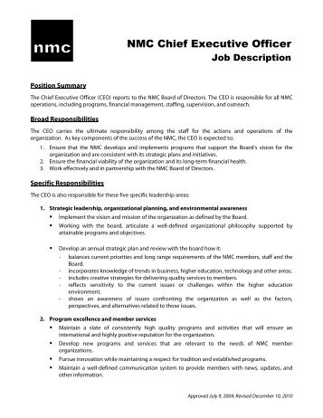 CEO Job Description (approved 7 2004)   New Media Consortium
