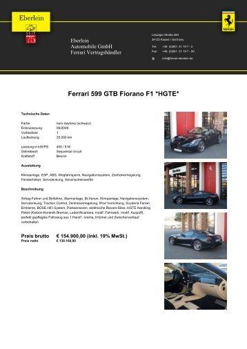 Ferrari 599 GTB Fiorano F1 *HGTE* - bei Eberlein Automobile Gmbh